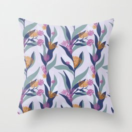 Delicate trailing floral design on a soft mauve base Throw Pillow