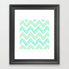 3D CHEVRON MINT/PEACH/TEAL Framed Art Print