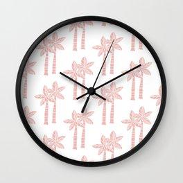 Palm Tree Pattern Dusty Rose 3 Wall Clock