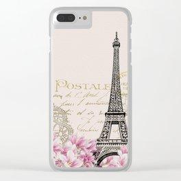 Carte Postale Eiffel x Floral Art Deco Clear iPhone Case