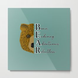 Bear animal face with letters and positive characteristics script text Metal Print