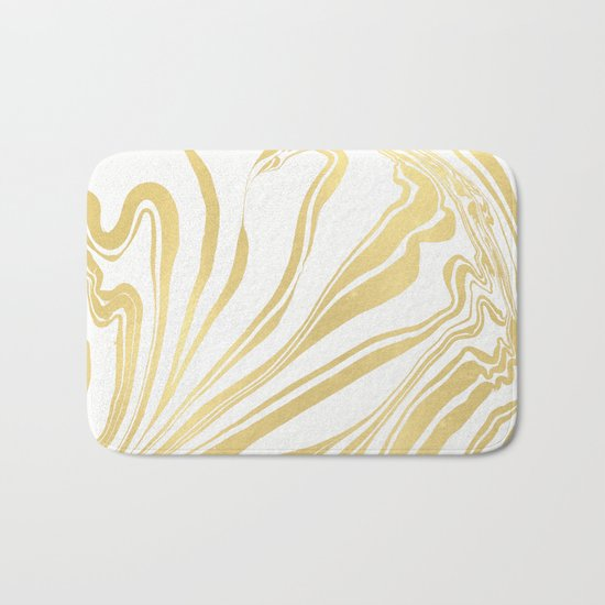Bronze Copper Gold Rush Marble Ink Swirl Bath Mat