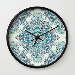 Floral Diamond Doodle in Teal and Turquoise Wall Clock