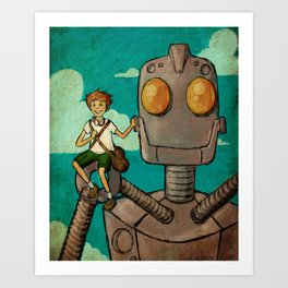 A Boy and his Iron Giant Art Print