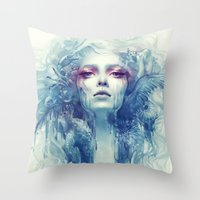 oil Throw Pillows featuring Oil by Anna Dittmann