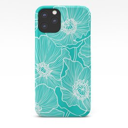 Turquoise Poppies Drawing iPhone Case
