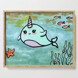Cute narwhal Serving Tray