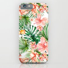 Tropical Jungle Hibiscus Flowers - Floral on #Society6 iPhone 6s Slim Case