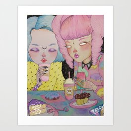 Breakfast Babes Art Print