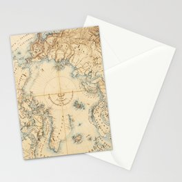 Map of the Arctic and Adjacent Regions (1855) Stationery Cards