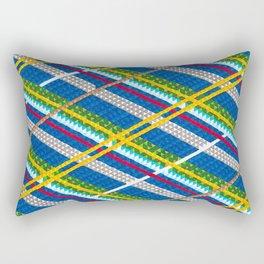 Blue Plaid Rectangular Pillow