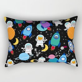 Space Cats Astronaut Kittens Rocket Ship Pattern Rectangular Pillow