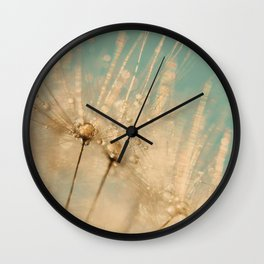 dandelion gold and mint Wall Clock