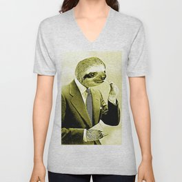 Gentleman Sloth lighting a cigarette Unisex V-Neck