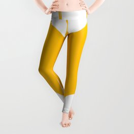 Orange-Yellow Silhouette Of a Bat  Leggings