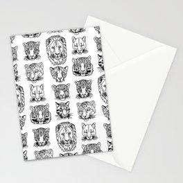 Kickass Kitties - black on white Stationery Cards