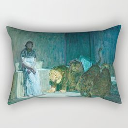 African American Masterpiece 'Daniel in the Lion's Den' by Henry Ossawa Tanner Rectangular Pillow