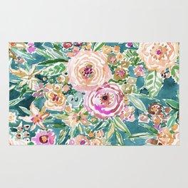 Teal MAUI MINDSET Colorful Tropical Floral Rug