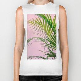 Palm leaves paradise in pink Biker Tank