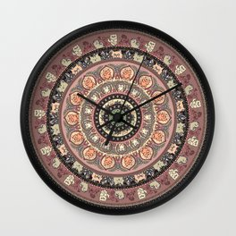 Cat Yoga Medallion Wall Clock