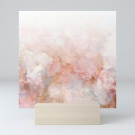 Beautiful Pink and Gold Ombre marble under snow Mini Art Print