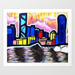 Bright Brisbane City River Art Print