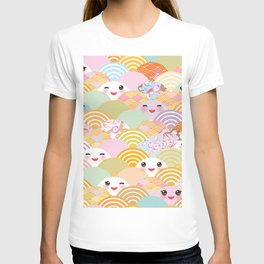 seamless pattern Kawaii with pink cheeks and winking eyes with japanese sakura flower T-shirt