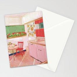 mid century interior-retro pink kitchens Stationery Cards