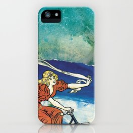 Bicycle girl by the sea iPhone Case