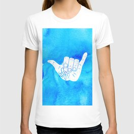 Surf Hang Loose Hawaiian Ocean Blue Hip Watercolor T-shirt
