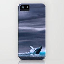 Whale in ocean night iPhone Case
