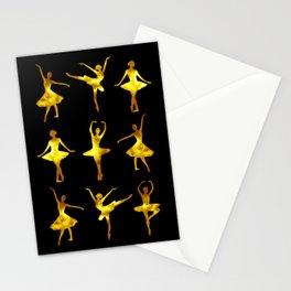 Watercolor Ballerinas (Black and Yellow) Stationery Cards