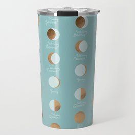 The Lunar Cycle • Phases of the Moon – Copper & Robin's Egg Blue Palette Travel Mug