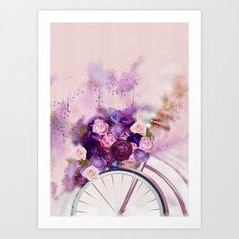 Vintag Bicycle and Flowers Art Print