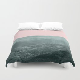 Mountains Pink + Green Duvet Cover