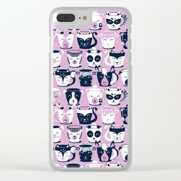 Cuddly Tea Time // white navy & light orchid pink animal mugs Clear iPhone Case