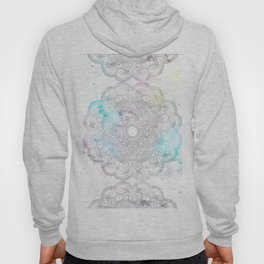 abstract gray and turquoise mandala design in minimal style Hoody