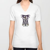 nouveau V-neck T-shirts featuring Nightmare Nouveau by Karen Hallion Illustrations