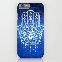 Blue Mandala Hamsa iPhone Case