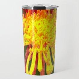 Golden-Russet Spider Chrysanthemum on Avocado  Travel Mug