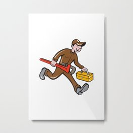 Plumber Carrying Monkey Wrench Toolbox Cartoon Metal Print