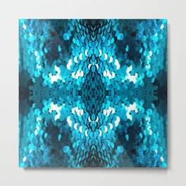 girly glam turquoise blue sequins mermaid scales Metal Print