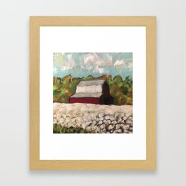 Red Barn in a Cotton Field Framed Art Print