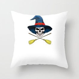 Witch Skull, It's Show Time Funny Halloween Horror Scary Throw Pillow