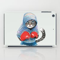 boxing iPad Cases featuring Boxing Cat by Tummeow