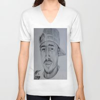 tupac V-neck T-shirts featuring Tupac  by Brooke Shane