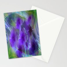 Violet Flower Garden Abstract Stationery Cards