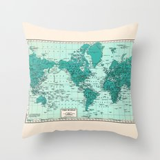 World Map in Teal Throw Pillow
