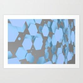 Blue hexagons on white Art Print