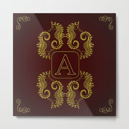 Letter A Seahorse Metal Print